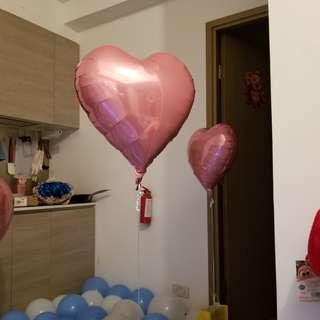 粉紅色心形氦氣球(已充氦氣)