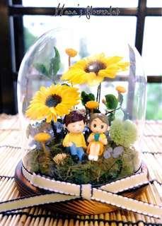 Preserved Flower Glass Dome (Valentine Gift)