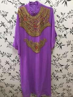 Kaftan Payet Gamis Pesta Purple