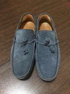 Suede Leather Loafer in Navy