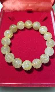 玉石 翡翠 水晶 金髮晶手鏈 16粒 13mm