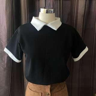 Black and white Collared Shirt