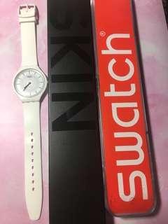 有15個月保養Swatch white skin Watch 超薄輕盈防水手錶 Swiss made
