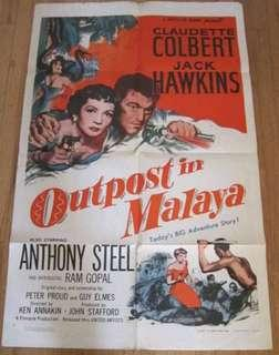 Rare Vintage Collectables Original War Movie Outpost In Malaya 1952 Huge Cinema Poster Malaysia Singapore