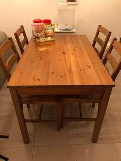 Moving out sale Solid wood dining table with 4 chairs
