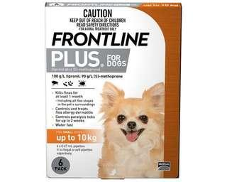 Frontline plus for small dogs up to 10 kg 6 dose