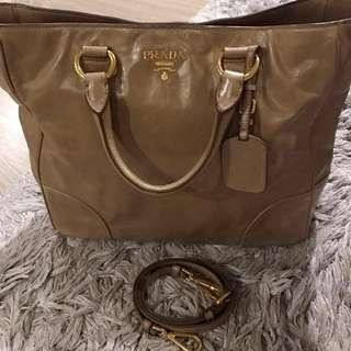 7a45b8804516 Prada Argilla Vitello Daino Leather Shopping Bag
