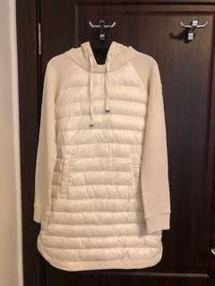 真品Moncler米白色羽絨拼接長版上衣洋裝