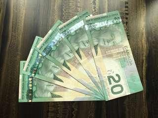 🚚 Old Canadian $20 Dollars Paper Banknotes Green Rare