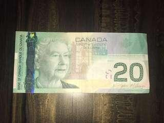 Old Canadian $20 Dollars Paper Banknotes