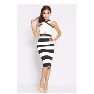 (BN) Lara J Lavinia Stripes Skirt - Size M