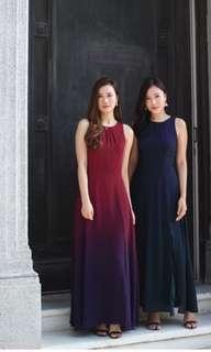 🚚 Lace & Ebony Ariselle Ombre Maxi Dress in Wine (S)