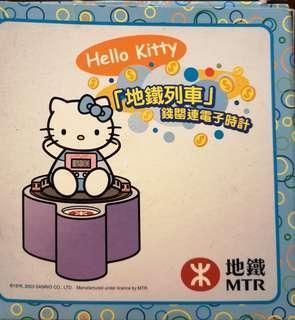 全新 Hello kitty mtr 錢罌連電子時計連車票 mtr 2003 懷舊