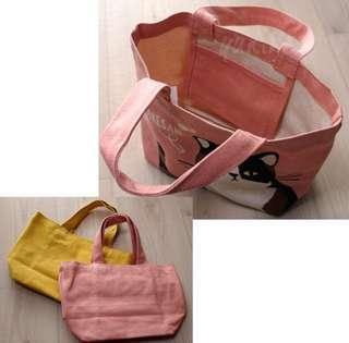 🚚 全新日本 貓咪手提袋 便當袋 厚帆布袋 購物袋