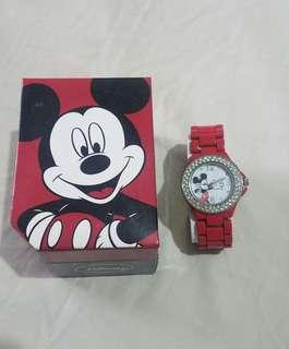 Women's Watch Disney Mickey Mouse Red Metal Strap