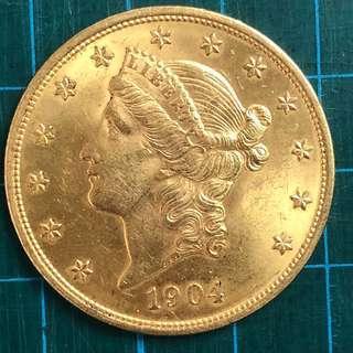 Au1904 USA $20Goldcoin (33.4g)