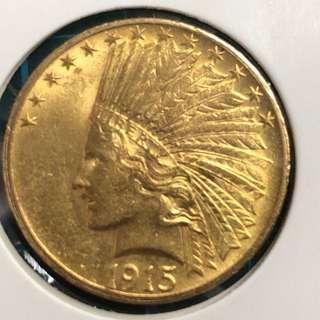 1915USA  Indian Goldcoin(16.7g)