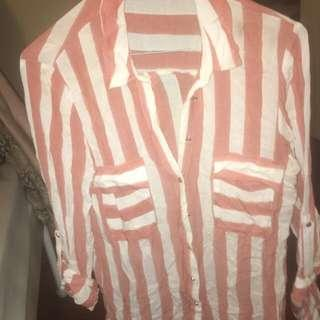 Zara Coral Wide Striped Shirt