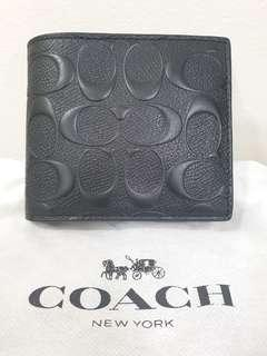BN Coach CC signature black leather mens wallet