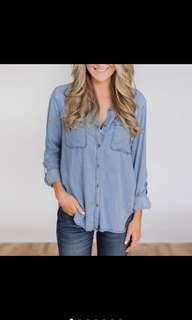 🚚 ACSGWomen Soft Denim Blue Button Blouse
