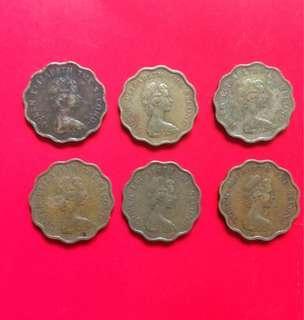 Queen Elizabeth 20cents-1975,76,77,78,79,80
