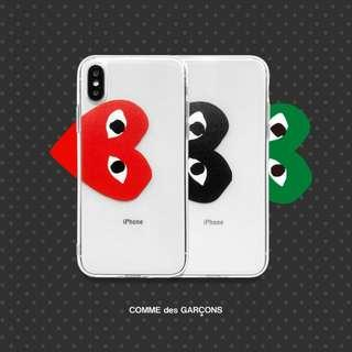 [PO] cdg transparent iphone case in black / red / green