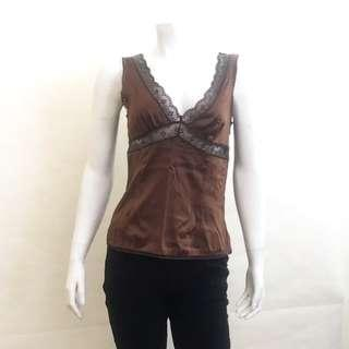 Auth D&G DOLCE & GABBANA Brown Silk Lace Camisole Blouse Top IT 42 US 6 EUC