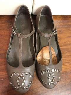 Chanel 灰色真皮平底鞋 Leather Flat Flats Grey size36