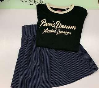 Uniqlo UT + striped skirt
