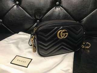 🚚 全新真品 Gucci Marmont Matelassé 迷你 MINI 黑色 金鍊 肩背包 448065