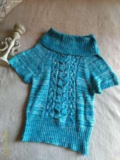 🚚 藍色針織長毛衣