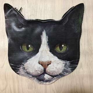 可愛黑白貓 雙面 小物袋 大約23cm x 23cm cat small pouch