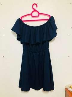 Navy Blue, Off-shoulder Dress