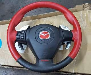 MAZDA RX8 Steering Wheel c/w multifunction paddle shift and AutoExe Leather
