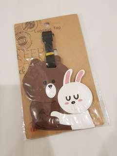 Luggage tag brown cony line friends