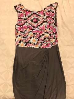Fond Pink Aztec Printed Dress