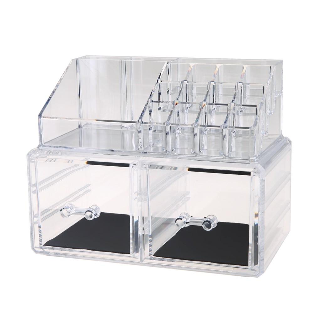 Acryalic Makeup Case Storage Cosmetic Organizer With 3 Drawers