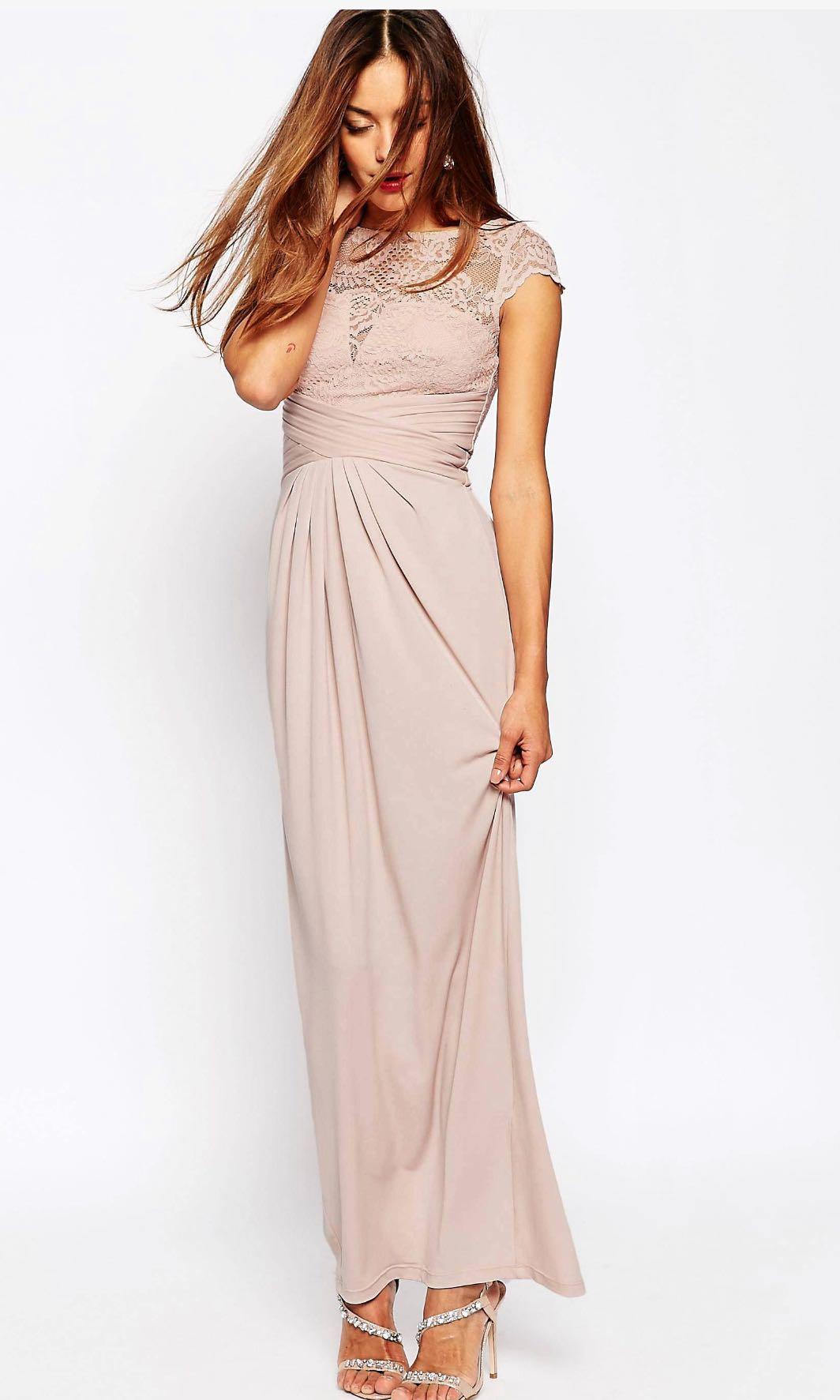c03ca7a291e ASOS wedding lace top pleated maxi dress