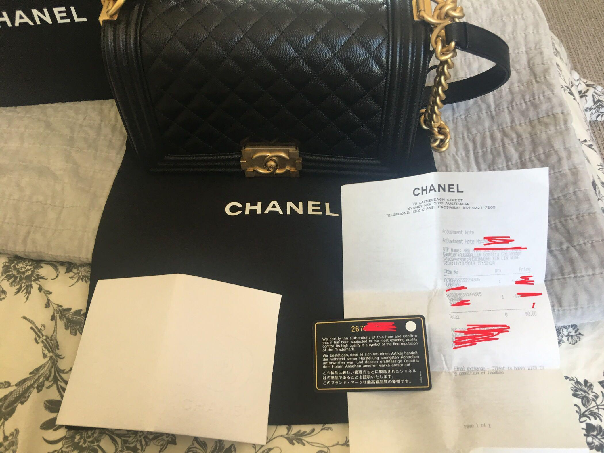 Authentic BRANDNEW Chanel Boy Bag black old medium caviar in gold hardware