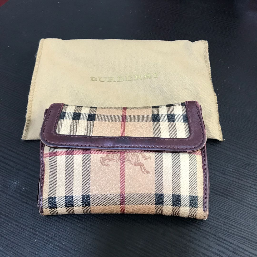 7535e8430489 Authentic Burberry Wallet (Maroon   Red)