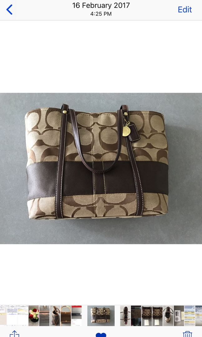 69762db373db Authentic Coach Signature Stripe Tote In Khaki & Mahogany