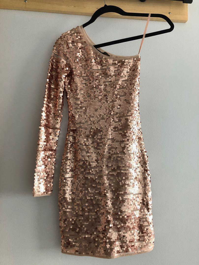 BCBG Copper Sequin One Sleeve Dress