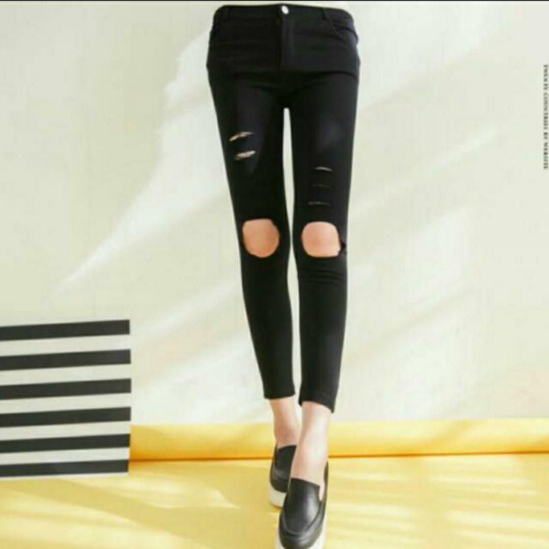 793f411e2e8 BN Tokyo Fashion White Denim Ripped Slit Skinny Jeans   Tights ...