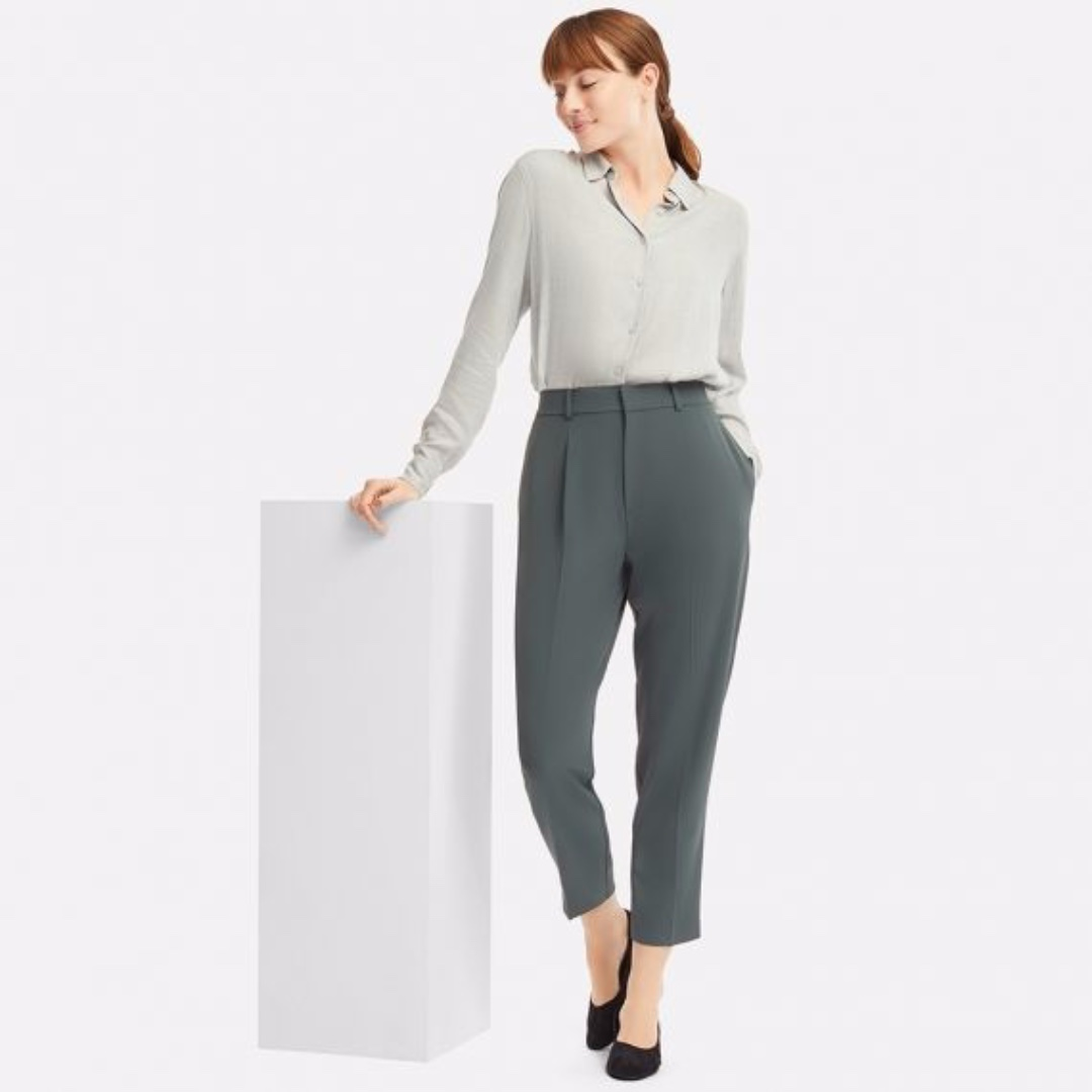 574a2b4f7ce3 BNWT Uniqlo Drape Tapered Pants in Green (M)