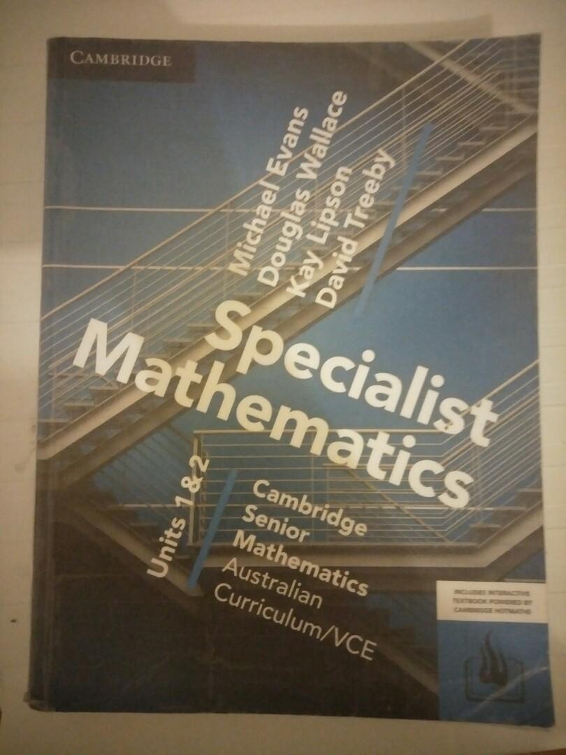 Cambridge Specialist Maths units 1&2 2017