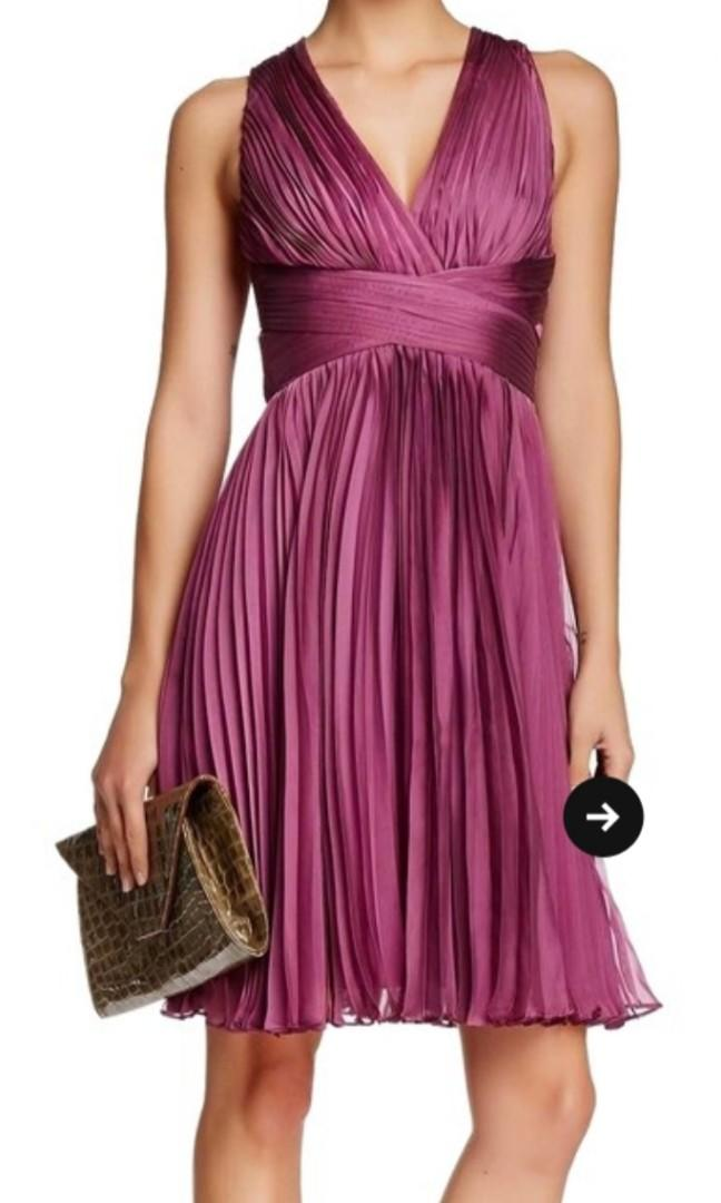 Halston Heritage Orchid Halter Pleated evening cocktail dress size 8 RRP$465usd