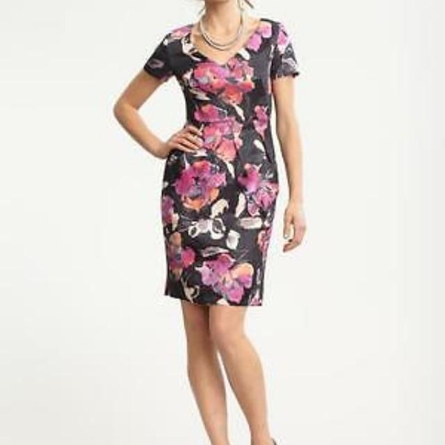 Lightly used Banana Republic grey and pink floral dress