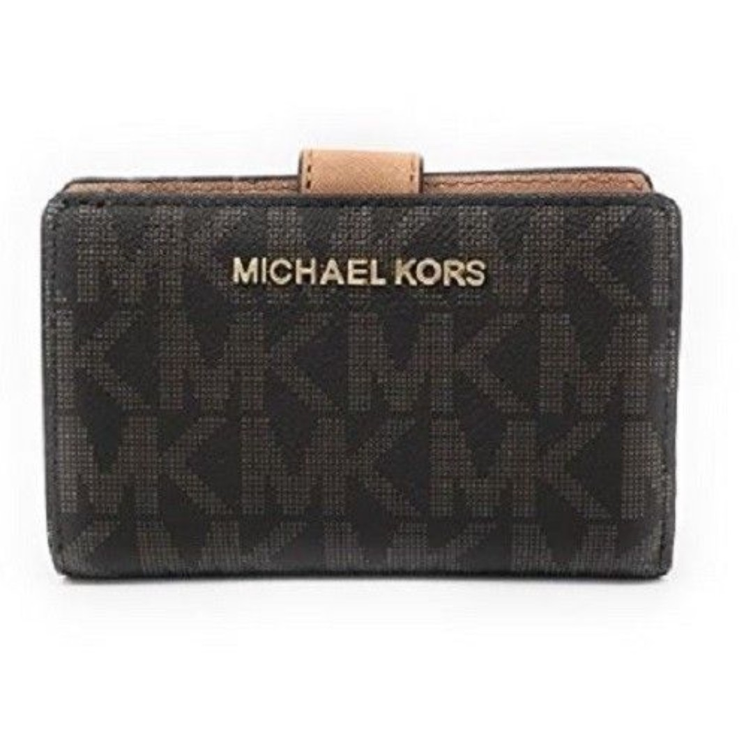 c8693c077e56f3 NEW Michael Kors MK Jet Set Travel Monogram PVC Signature Bifold Zip ...