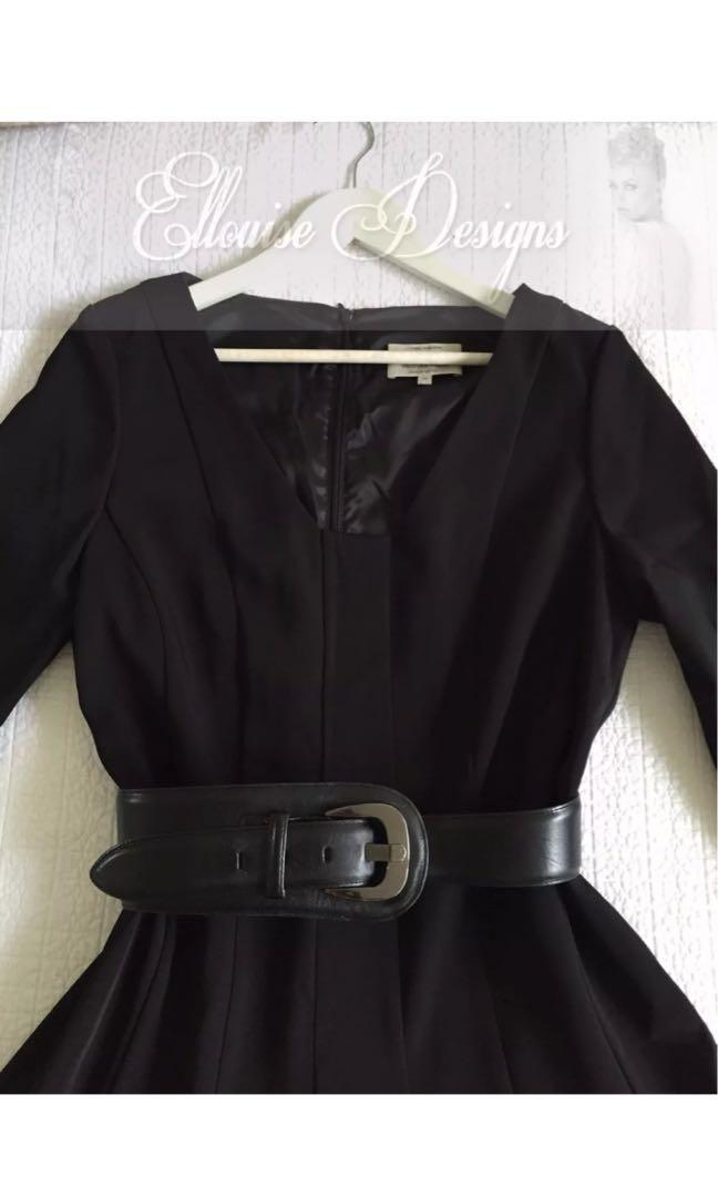 New VERONIKA MAINE SIZE 8 (AU10) Black fit and flare 3/4 sleeve dress with CUE belt