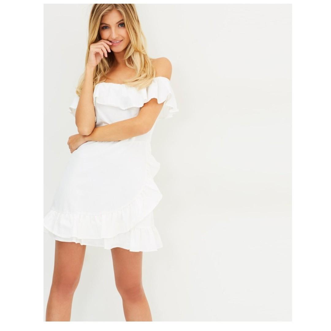 $10 SALE NEW White off shoulder dress by Atmos & Here - Size 8 - RRP $70